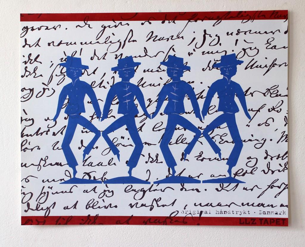LLZ TAPET. hca Dansende blå mænd1 400 x 500 mm. Pris:350,- d.kr