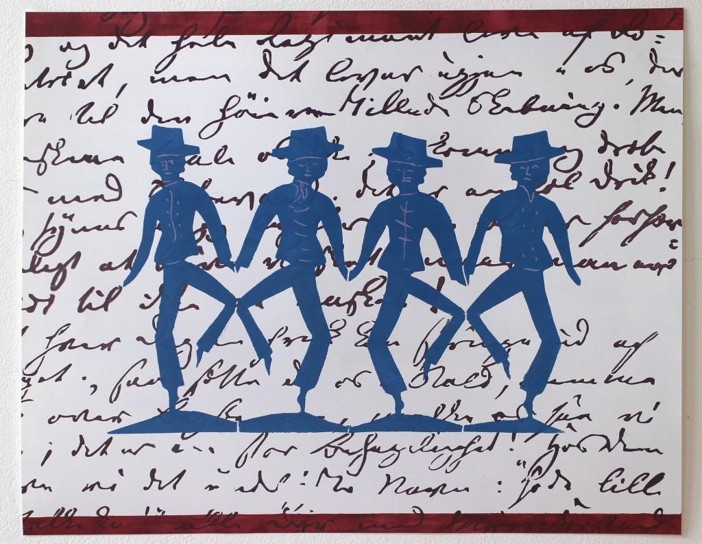 LLZ TAPET. hca Dansende blå mænd2 400 x 500 mm. Original håndtryk. Danmark. Pris:350,- d.kr. Ring 21 74 89 10 eller mail lone@llz-tapet.dk.
