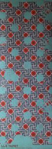Willumsen og Alhambramønstret 12. Original håndtrykt på kraftig nonwoven tapetpapir med kompositionsfarver. Måler 56 x 160 cm. Prisen er 2.300,-