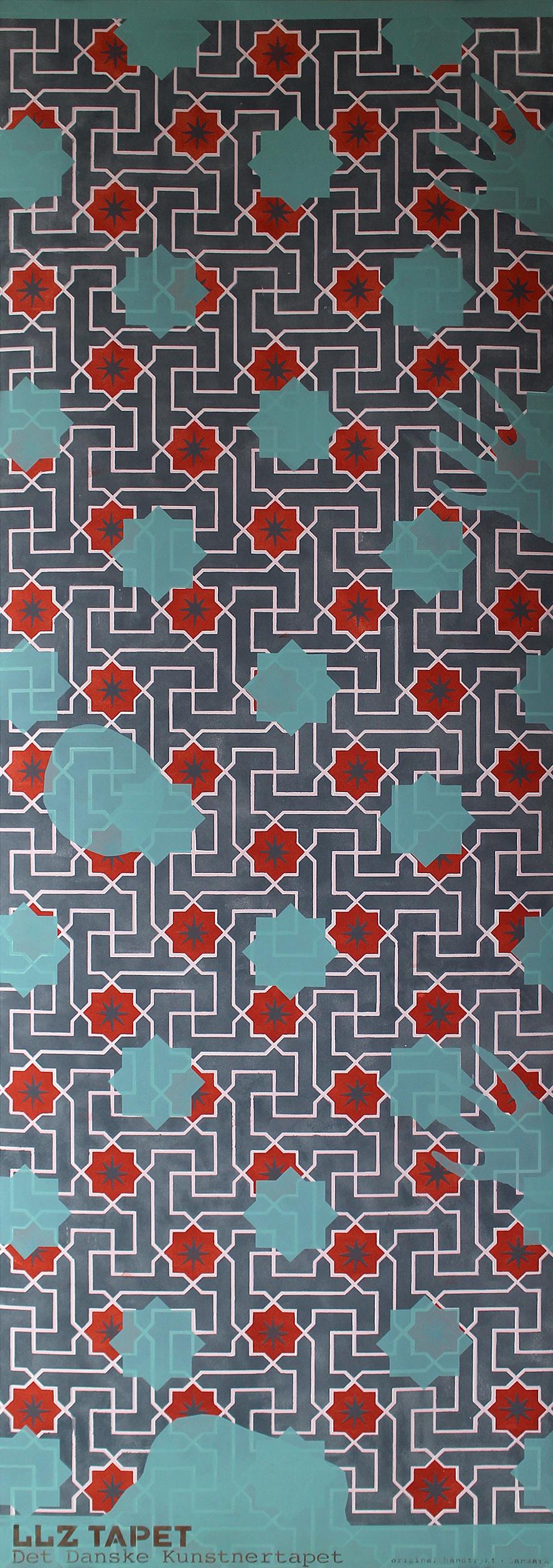 Willumsen og Alhambramønstret 12. Original håndtrykt på nonwoven 140 g´ tapetpapir med kompositionsfarver. Måler 56 x 160 cm. Prisen er 2.300,-