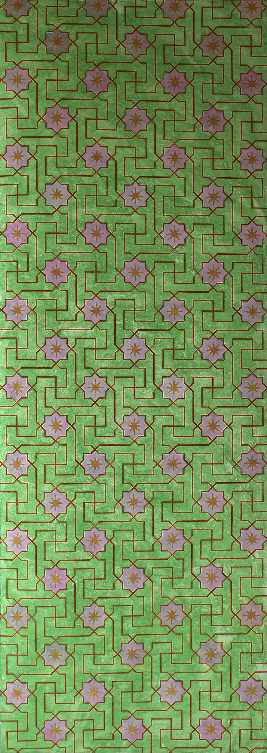 Willumsen og Alhambramønstret 19. Original håndtrykt på kraftig nonwoven tapetpapir med temperafarver. Prisen pr løbende meter er 656,-