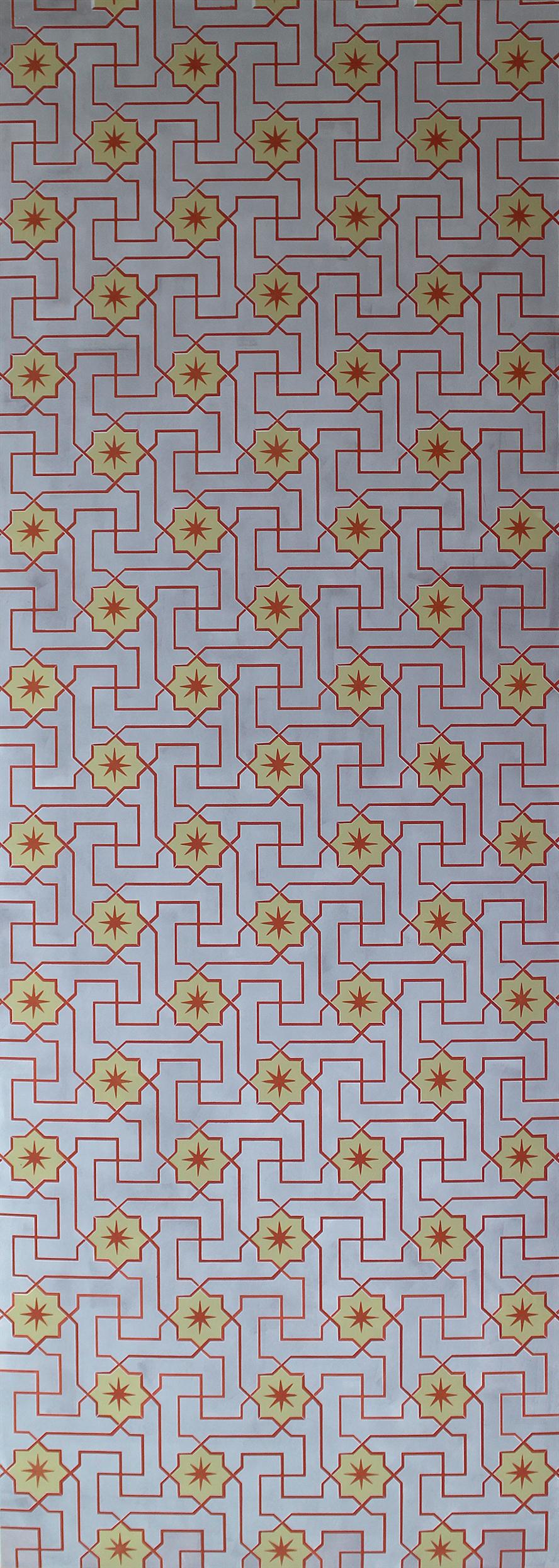 Willumsen og Alhambramønstret 20. Original håndtrykt på kraftig nonwoven tapetpapir med kompositionsfarver. Prisen pr løbende meter er 650,-