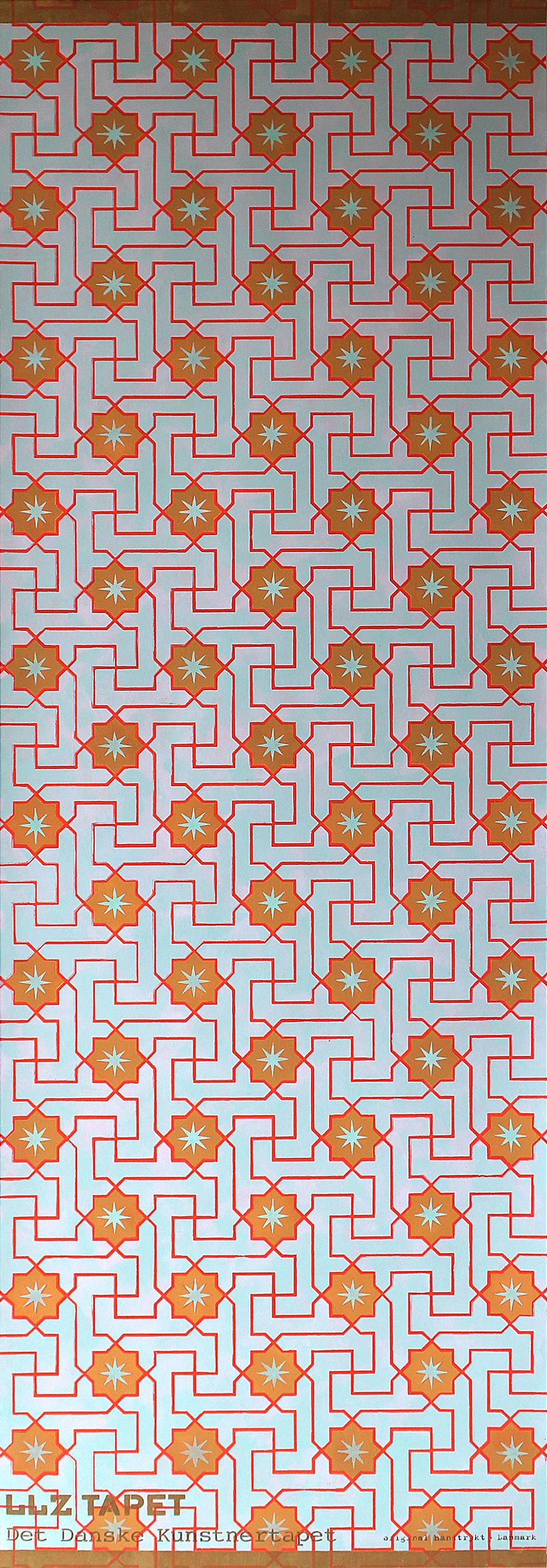 Willumsen og Alhambramønstret 21. Original håndtrykt på nonwoven 140 g´ tapetpapir med kompositionsfarver. Måler 56 x 166 cm. Prisen er 1.700,-