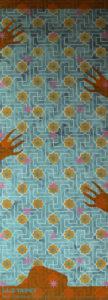 Willumsen og Alhambramønstret 23. Original håndtrykt på kraftig nonwoven tapetpapir med tempera. Måler 56 x 163 cm. Prisen er 2.300,-