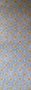 Willumsen og Alhambramønstret 24. Original håndtrykt på kraftig nonwoven tapetpapir med kompositionsfarver. Prisen pr løbende meter er 650,-