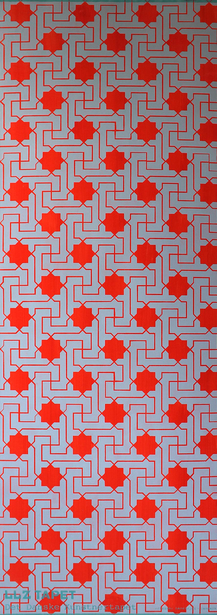 Willumsen og Alhambramønstret 25. Original håndtrykt på kraftig nonwoven tapetpapir med kompositionsfarver. Pr løbende meter er prisen 550,-
