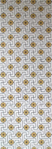 Willumsen og Alhambramønstret 26. Original håndtrykt på kraftig nonwoven tapetpapir med kompositionsfarver. Prisen pr løbende meter er 656,-