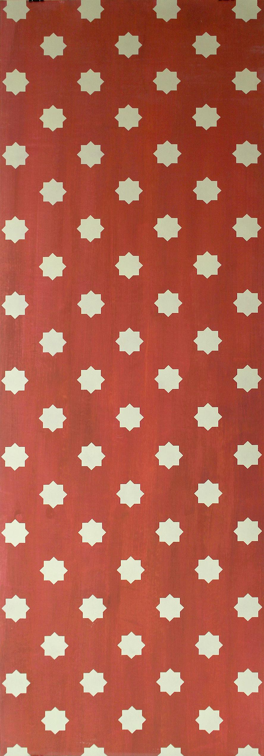 Willumsen og Alhambramønstret 27. Original håndtrykt på kraftig nonwoven tapetpapir med kompositionsfarver. Prisen pr løbende meter er 400,-