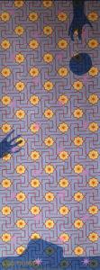 Willumsen og Alhambramønstret 5. Original håndtrykt på kraftig nonwoven tapetpapir med kompositionsfarver. Måler 56 x 160 cm. Prisen er 2.300,-