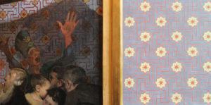 Willumsen Alhambra tapet til højre for billedet er udviklet og fremstillet af Lone Simonsen LLZ TAPET