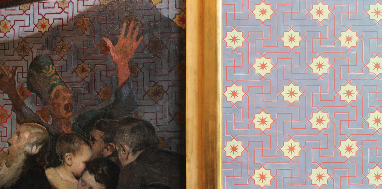 Willumsen Alhambratapet til højre for billedet er lavet af Lone Simonsen LLZ TAPET